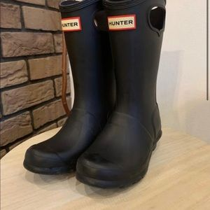 Hunter Tall Rain Boots Pull On Black Youth Size 2
